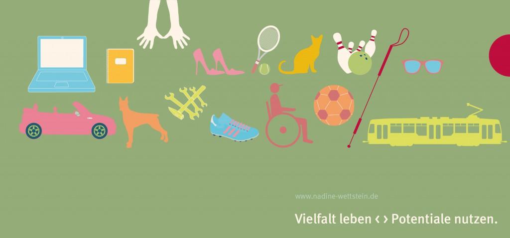 Vielfalt visualisiert durch verschiedene Symbole. Darunter der Slogan: Vielfalt leben <> Potentiale nutzen.